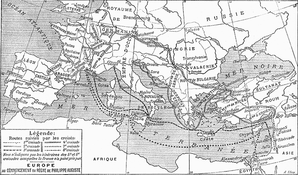 Карта крестовых походов. Можно разглядеть маршруты