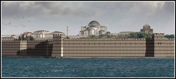 Константинополь. Морская стена. Реконструкция на 1200 год