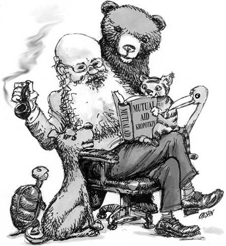 Кропоткин читает свою  Mutual Aid (Взаимопомощь как фактор эволюции). Английская каррикатура