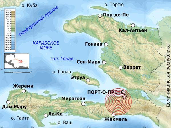 Карта Гаити. Эпицентр землетрясения там, где красные круги