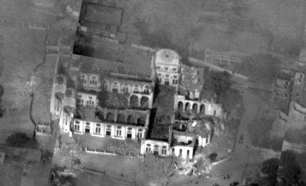 Снимок разрушенного храма с разведывательного БПЛА Global Hawk