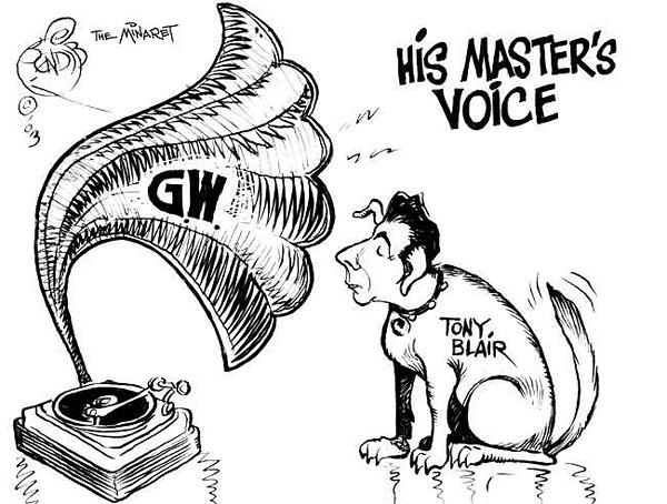 Английская карикатура на Тони Блэра. Тони Блэр - лидер Лейбористской партии Великобритании, 73-ий премьер-министр этой страны (с 1997 по 2007 г). Рекордсмен среди британских лейбористов по продолжительности пребывания во главе партии. Потому что уши большие.