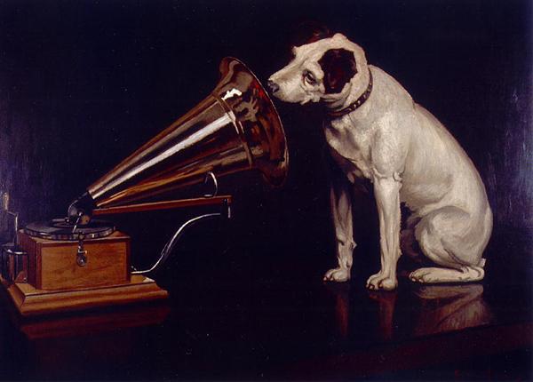 """Френсис Барро, """"Голос его хозяина"""", вариант картины 1899 года, на ней уже изображен граммофон, а не фонограф, а на первом варианте 1898 года был изображен фонограф (он выглядит несколько иначе, но труба там та же) - после продажи картинки фирме Gramophone художника заставили перерисовать ее с граммофоном"""