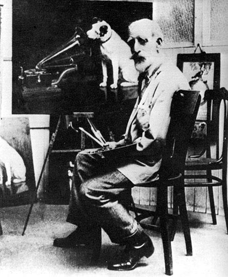 По заказу компании gramophone Френсис Барро написал 24 точных копии этой картины. На этой фотографии художник заканчивает очередную копию...