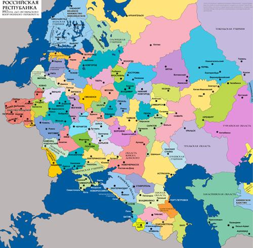 Карта губернского деления западной части России
