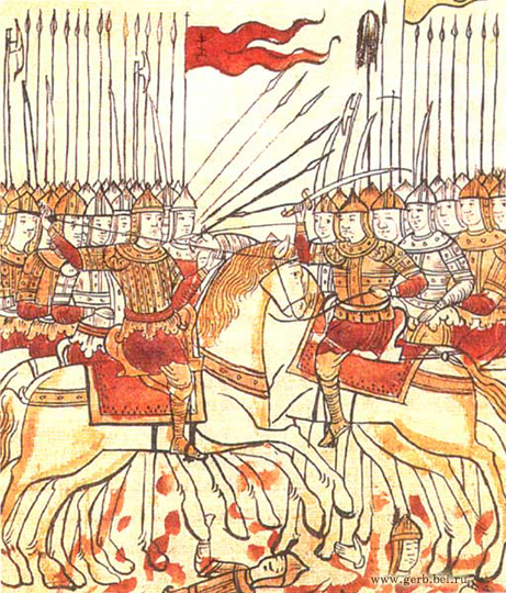 Битва на Куликовом поле. Миниатюра 16 век