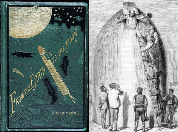 Обложка книги Жюль Верна С Земли на Луну и иллюстрация к ней
