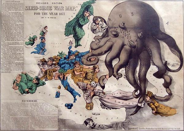 Вот так, в виде осьминога, в былые времена представляли Россию враги. Если отбросить эмоции, то это реалистично. Так и должно быть. И так оно в будущем и будет