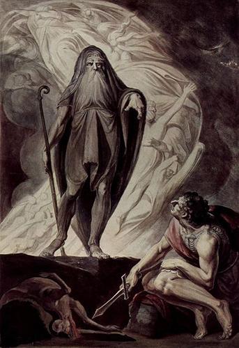 Прорицатель Тиресий и Одиссей в Аиде
