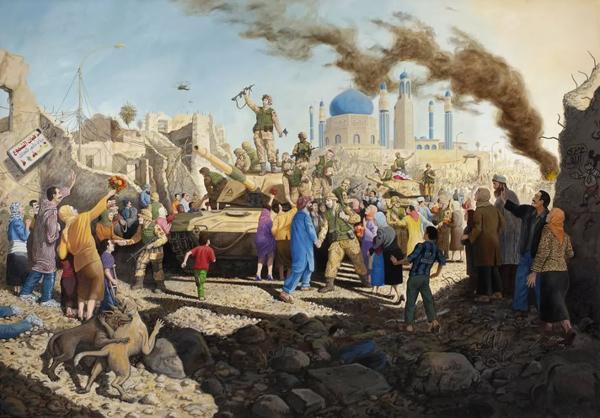 Американские войска вступают в Багдад. Картина американского художника. Что-то до боли знакомое