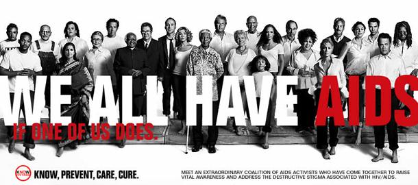 """""""У нас у всех СПИД. Если он у одного из нас"""" - так написано на этом пропагандистском плакате"""