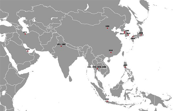 Страны, которые принимали или будут принимать Летние Азиатские игры до 2014 года. Красные точки означают города игр