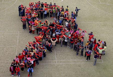 Китайские школьники против СПИДа, провинция Анхуй, ноябрь 2006 год