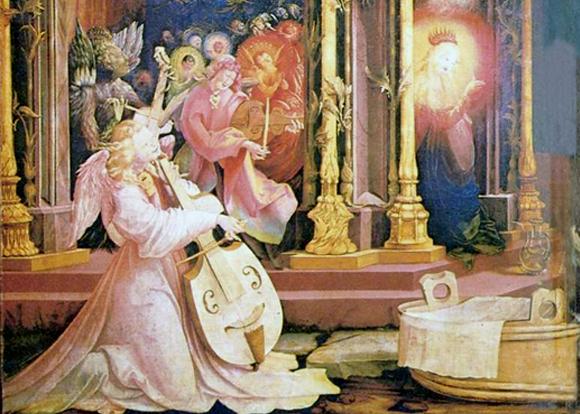 Матиас Грюневальд. Изенгеймский алтарь, фрагмент. Для полной гармонии в оркестре ангелов играет и дьявол