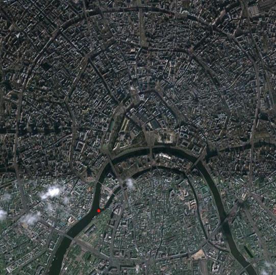 Мандала Москвы. Кремль - треугольник на вершине изгиба Москвы-реки. Место памятника Петру отмечено красной точкой