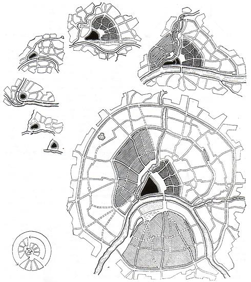 Спирально-веерный рост кварталов Москвы. Иллюстрация из книги Татьяны  Фадеевой Образ и символ