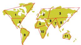 Рис. 4. Сотовый политический мир III тысячелетия  по расчетам 2001 года: 1 — Северная Америка; 2 — Евророссия; 3 —Россия XXI   века (Пятая Россия); 4 — Америка; 5 — Северная Африка; 6 — Исламский мир; 7 — Индия; 8 — Китай; 9 — Южная Америка; 10 — Южная Африка; 11 — Австралия