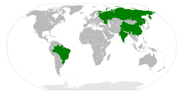 Зеленым обозначены страны БРИК. На сей раз к ним присоединяется также Южная Африка (С)
