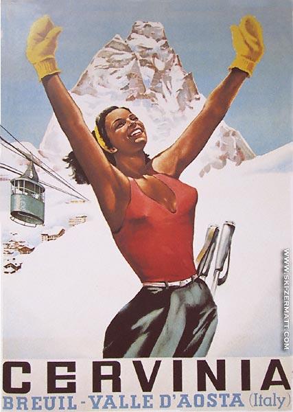 Реклама итальянского горнолыжного курорта 50-х годов.
