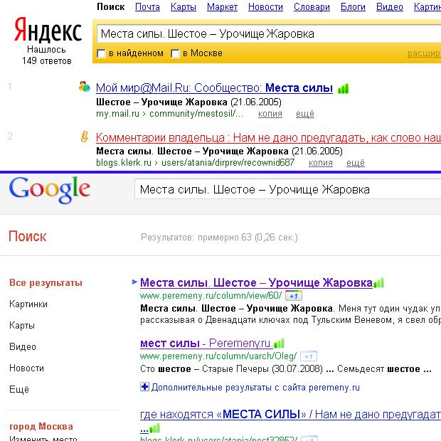 Яндекс не находит оригинальный текст по запросу, а Google находит