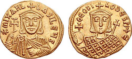 На монете Михаил II Травл