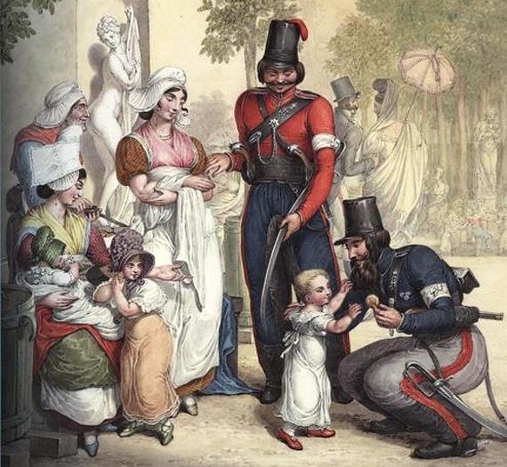 Русские казаки и французские девочки. Париж 1814. Акварель Георга-Эммануэля Опица