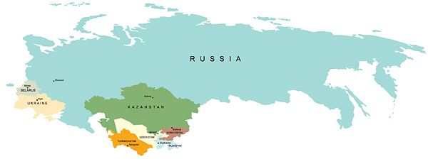 Рис. 5.3. Проект общего рынка России, Казахстана, Беларуси, Украины, Киргизии, Таджикистана, Узбекистана, Туркмении