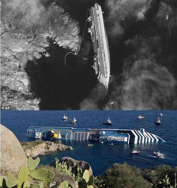 Лайнер, завалившийся набок. Вид со спутника и с окрестных скал о. Джильи