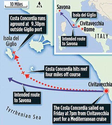 Маршрут лайнера: обычный (фиолетовый) и в день катастрофы (красный пунктир). Первая отметка – столкновение с рифом. Второй крестик – выброс лайнера на скалы острова Джильи