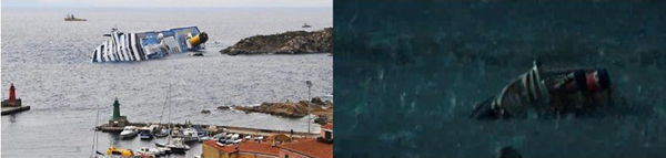 Повторение матричных образов: слева – лежащая на боку Конкордия, справа – один из начальных кадров фильма-катастрофы 2012 – игрушечный кораблик, брошенный индийским мальчиком в луже на улице