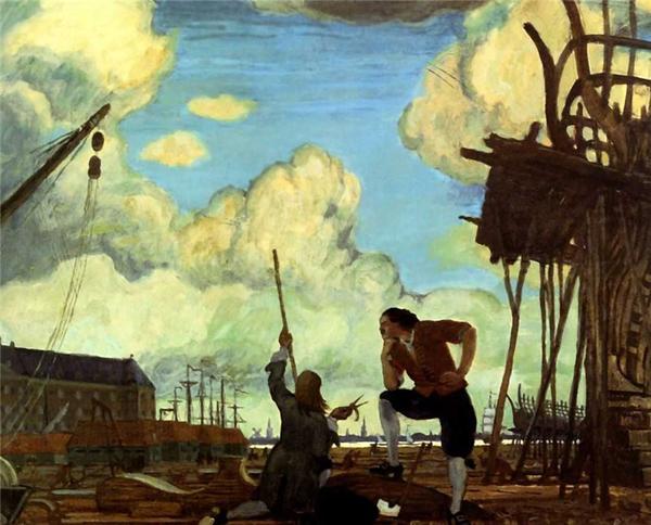 Мстислав Добужинский. Петр Великий в Голландии. Амстердам, верфи Ост-Индской Компании. 1910
