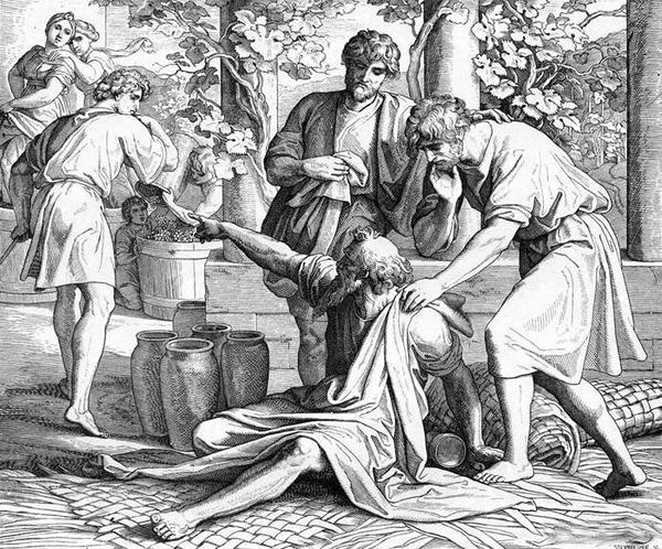 Ной проклинает Хама. Юлиус Шнорр фон Карольсфельд. Иллюстрации к Библии