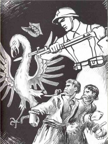 Cоветский плакат 1939 г. Воин со звездой протыкает польскую курицу.