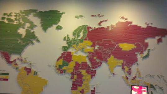 Карта мира из музея четвертой власти Newseum