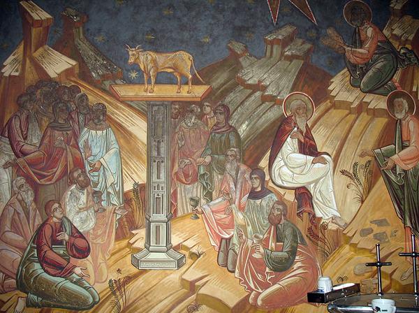 Народ, Золотой телец, Моисей, Скрижали, Бог. Фреска из Монастыря Петра Вода. Румыния