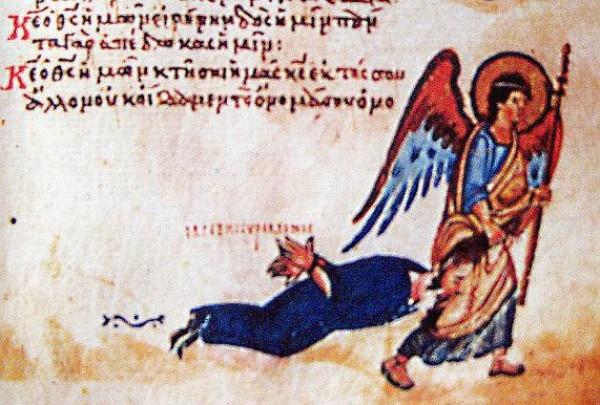 Ангел тащит иконоборца за волосы. Миниатюры из Хлудовской псалтыри