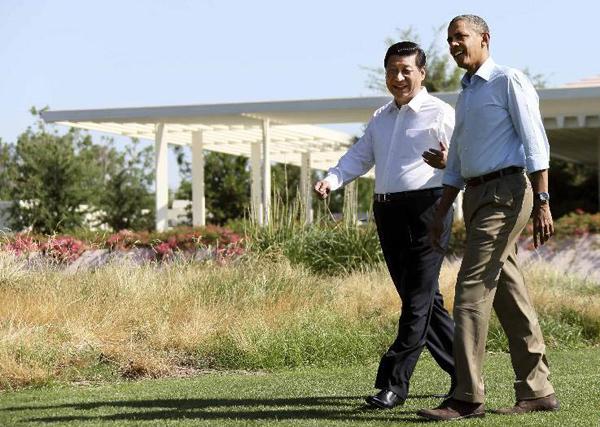 Председателя КНР Си Цзиньпин с президентом США Обамой Б.Х. 07-08.06.13 в усадьбе Анненберг, Калифорния