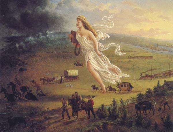 Аллегория американского «Предопредения судьбы» (manifest destiny). 1872 год