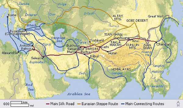 Великий шелковый путь и прилегающие маршруты