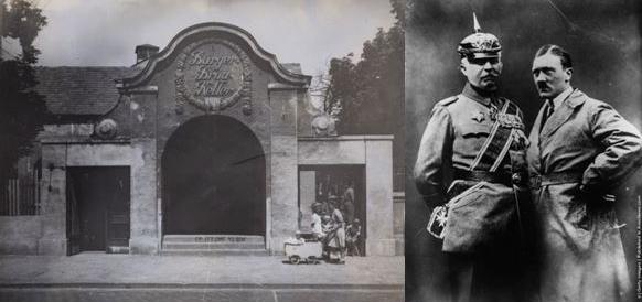 Слева фасад пивной «Бюргербройкеллер», справа Людендорф и Гитлер в 1923 году