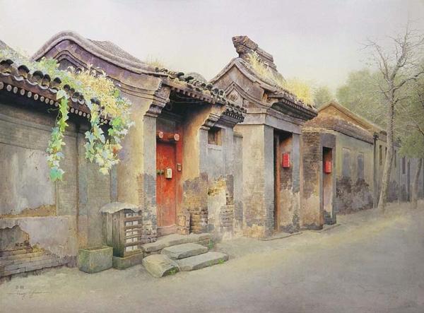 Улица. Акварель современного китайского художника Huang Youwei