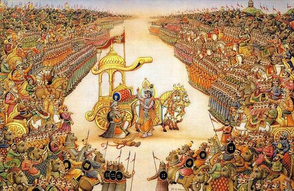 Кришна дает наставление Арджуне перед битвой на поле Курукшетра.  Начало Бхагавад Гиты
