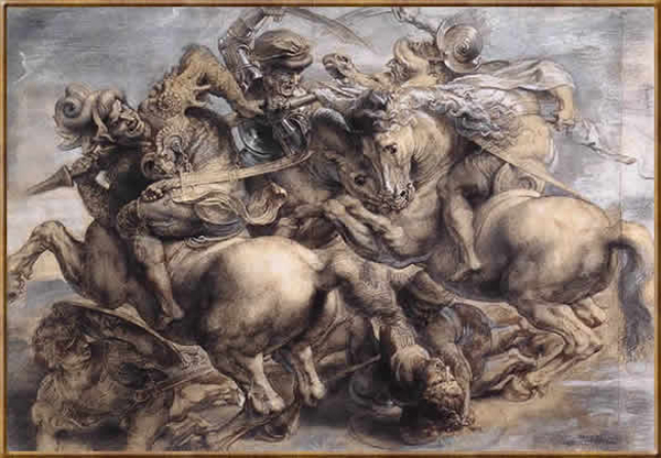 Битва при Ангиари. Картина Леонардо да Винчи