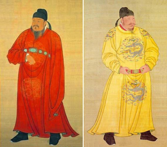 Слева Ли Юань, император Гао-цзу , справа Ли Шимин, император Тай-цзун