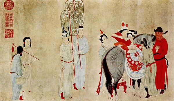Люимая наложница императора Сюань-цзуна (покровителя искусств) Ян-гуйфэй садится на коня. Живопись эпохи Тан