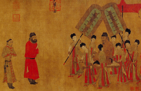 Император Тай-цзун (599 — 649) принимает посла из Тибета. Фрагмент картины Янь Либэня, VII в.