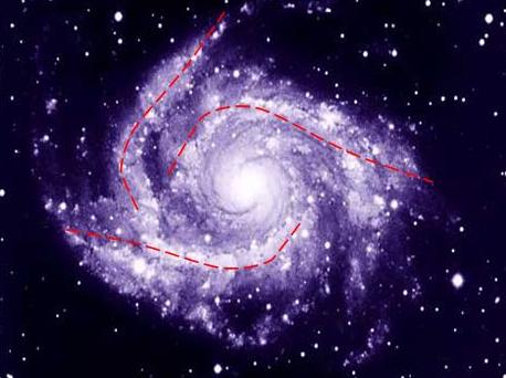 Рис. 5. Фотография галактики 1355607039_6777 в сопоставление с расчетными волнами распределения в ней энергии турбулентности.