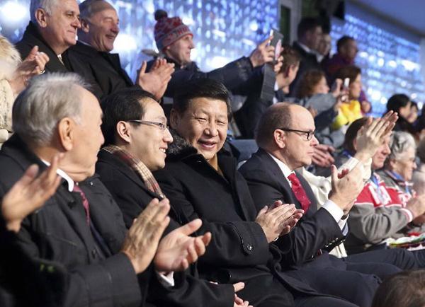 Нурсултан Назарбаев и Си Цзиньпин на открытии олимпиады в Сочи