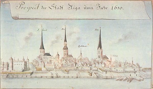 Панорама Риги (картина Йоганна Броце,1650). Жаль, что из силуэта Риги исчез изящный деревянный шпиль Домского собора
