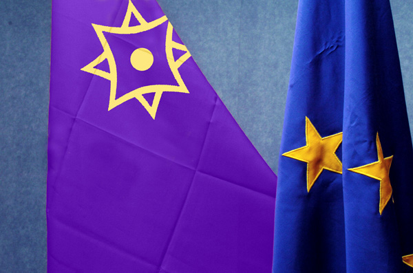 Флаги Евразийского Союза и Европейского Союза
